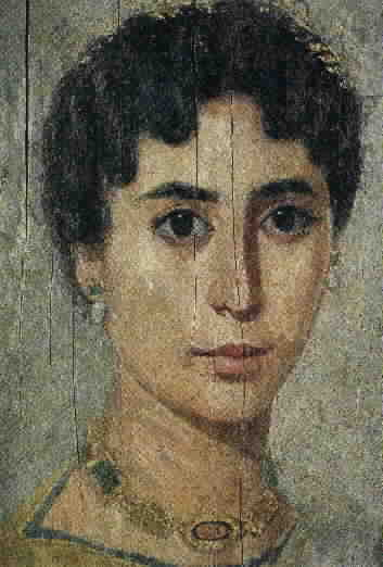Hypatia, daughter of Theron, Librarian of Alexandria, 370-415 CE. Picture from The Mysterious Fayum Portraits: Faces from Ancient Egypt.