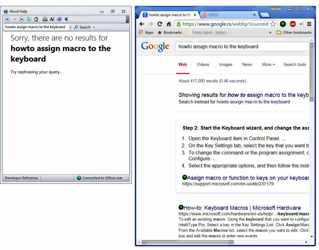Word help result on the left, Google result for the same query on the right